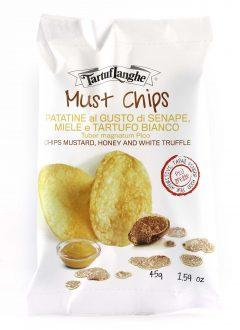 Zemiakové lupienky Chipsy s medovou horčicou a bielou hľuzovkou
